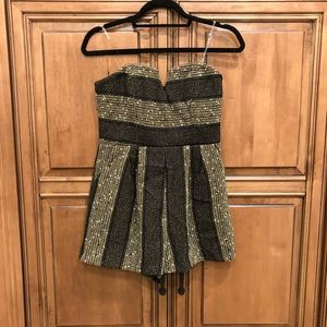 Black and gold tweed romper
